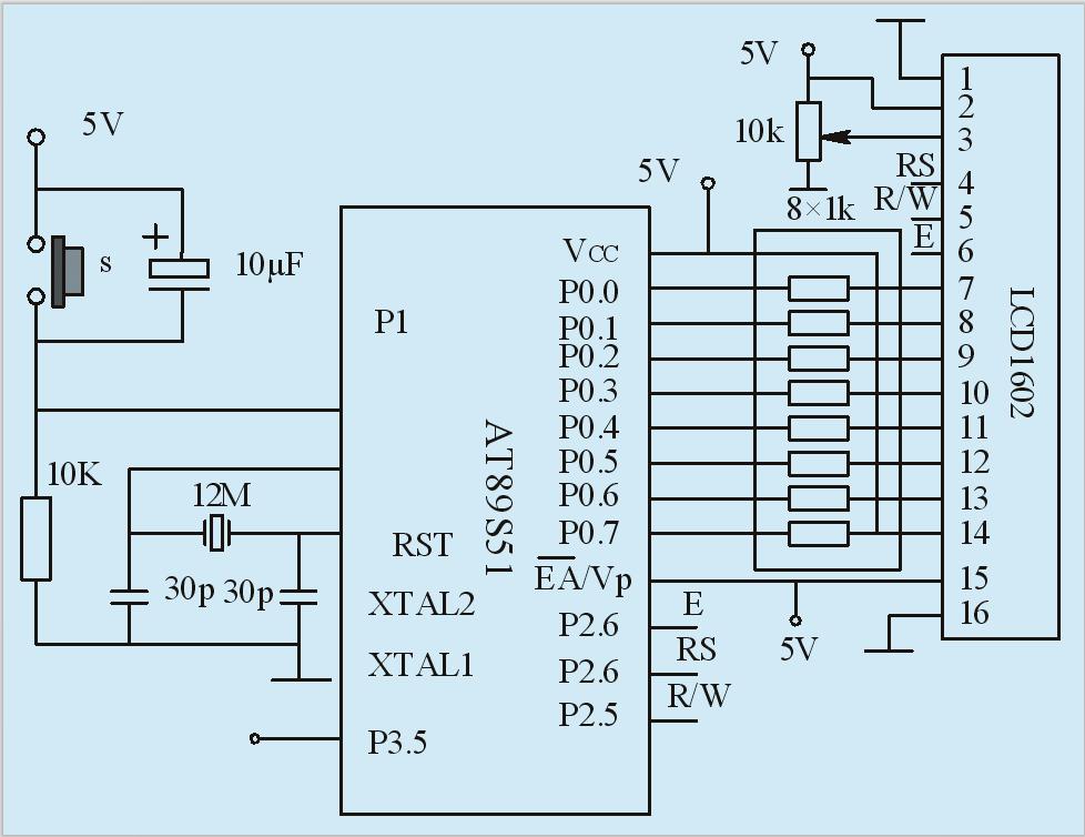 图4 单片机控制显示模块 显示模块LCD1602液晶第1、2脚接驱动电源;第三脚VL为液晶的对比度调节,通过在VCC和GND之间接一个10K多圈可调电阻,中间抽头接VL,可实现液晶对比度的调节;液晶的控制线RS、R/W、E分别接单片机的P2.5、P2.6、P2.7;D0~D7为LCD1602液晶模块的8位双向数据口,分别与STC89C52RC单片机的P1.
