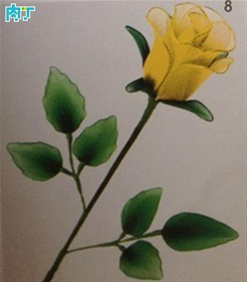 网黄色丝网 叶子取24#绿色铁丝 绕5#套筒两片,网绿色丝网 花托  1